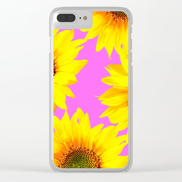 Large Sunflowers on a pink background - #Society6 #buyart Clear iPhone Case