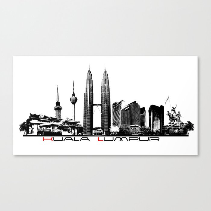 Kuala Lumpur skyline black Canvas Print