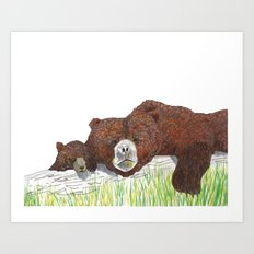 Mama Bear and Baby Bear Art Print