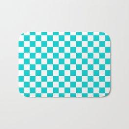 Small Checkered - White and Cyan Bath Mat