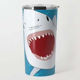 Shark Attack Underwater With Fish Swimming In The Background Travel Mug
