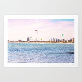 Windsurfing at St Kilda Art Print