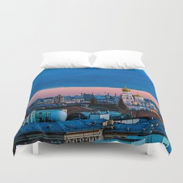 Moscow Sunset With An UFO Duvet Cover