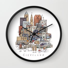 Cleveland Skyline group portrait Wall Clock