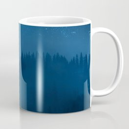 Highland forest in fog night landscape with stars in sky above foggy woodland Coffee Mug