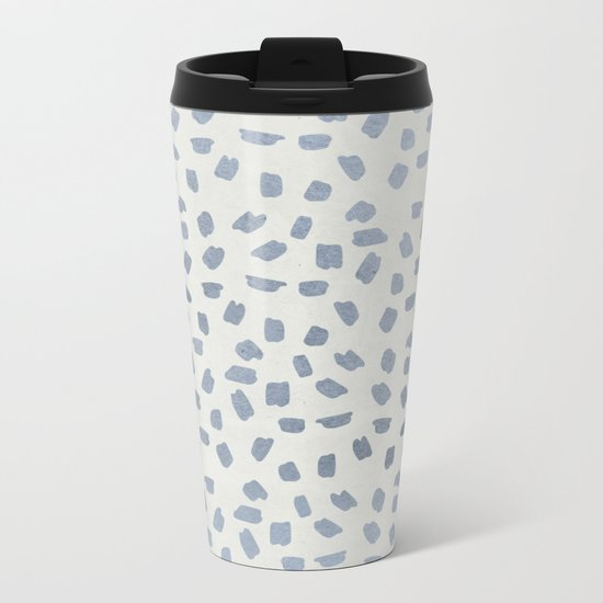 Simply Ink Splotch Indigo Blue on Lunar Gray Metal Travel Mug