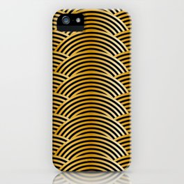 Gold Tiger Waves - Black Yellow Brown Abstract iPhone Case