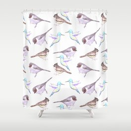 American bushtits, hummingbirds and tufted titmouse watercolor Shower Curtain
