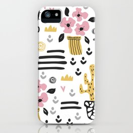 Cute flowers and cactus iPhone Case