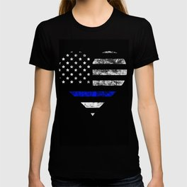 Thin Blue Line Police Officer LEO USA America Flag Heart Gift Cop Sherrif Blue Lives Matter T-shirt