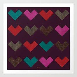 leather geometric love on dark purple Art Print
