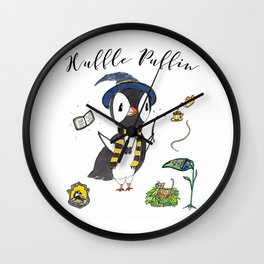 Huffle Puffin, HP, Fan Art, Puffins, Puffin, Illustration, Magic Wall Clock