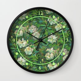 White roses, green leaves Wall Clock