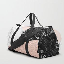 Black white marble blush pink rose gold glitter color block Duffle Bag