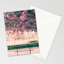 Paris, cherry blossom garden Stationery Cards