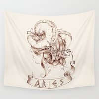 aries Wall Tapestries featuring Aries by Morgan Ofsharick - meoillustration