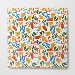 Sunny day pattern - marigold & red palette Metal Print
