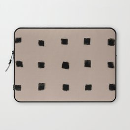 Polka Strokes Gapped - Black on Nude Laptop Sleeve