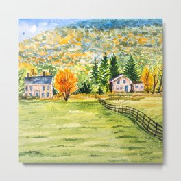 Village in the Autumn Hill Metal Print