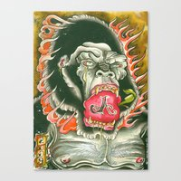 ape Canvas Prints featuring ape by sharktankillustrations