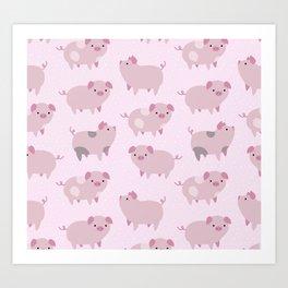 Cute Pink Piglets Pattern Art Print