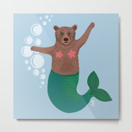The mermaid bear, with some suspicious looking bubbles. Metal Print