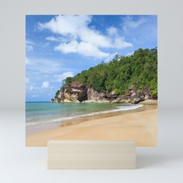 Exotic sand beach and cliffs with forest Mini Art Print