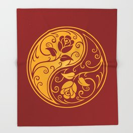 Yellow and Red Yin Yang Roses Throw Blanket