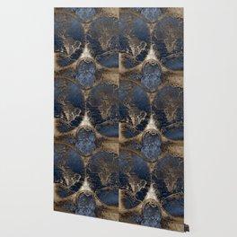 World Map Deep Blue and Gold Wallpaper
