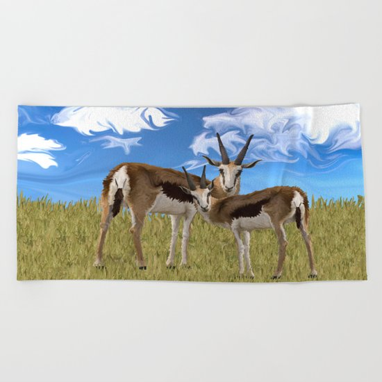 Grazing Gazelles Beach Towel