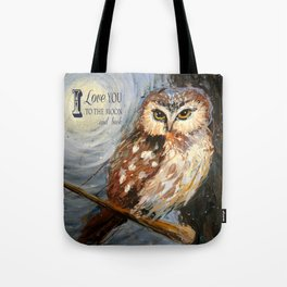 I Love You To The Moon And Back Owl Tote Bag