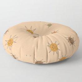 Atomic Age Starburst Planets Orange Floor Pillow
