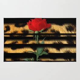 Leopard Print Black Stripes & Intertwining Rose Rug