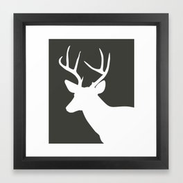 Deer Head in Grey Framed Art Print