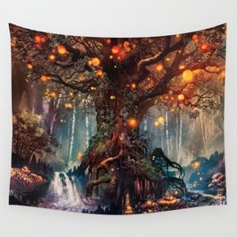 Magnificent Big Marvelous Magic Glowing Fairytale Forest Tree Light Bulbs Dreamland Ultra HD Wall Tapestry