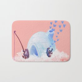 Penguins Fishing and Making Music on Their Floating Island Igloo Home Bath Mat