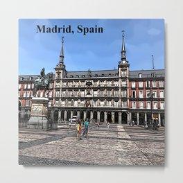 Comic Art of plaza in Madrid, Spain Metal Print