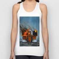 house Tank Tops featuring House on Fire by FAMOUS WHEN DEAD