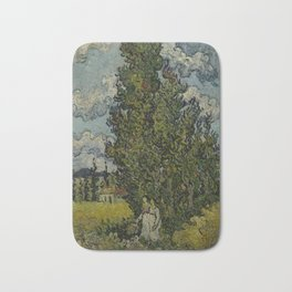 Cypresses and Two Women Bath Mat