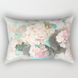 Shabby Chic Hydrangea Flowers Pink White Aqua Blue Rectangular Pillow
