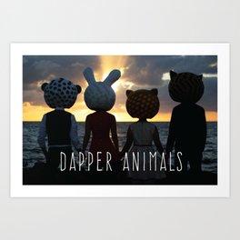 Dapper Animals Sunset Art Print