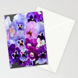 GREY VARIEGATED SPRING COLLECTION  PANSIES Stationery Cards