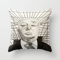 hitchcock Throw Pillows featuring Hitchcock by Abbi Burrows