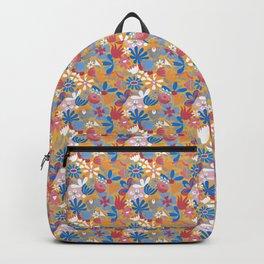 Yellow Flower Meadow– Blue Bell – Scandinavian Folk Art Backpack
