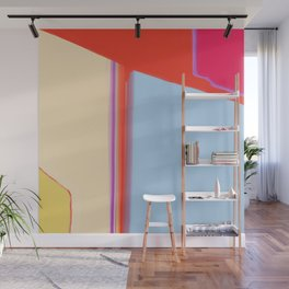 Construct in Orange, Cream and Blue Wall Mural