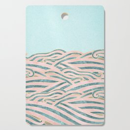 Venetian Waves // Vintage Abstract Pink Blue and Gold Summer Illustration Digital Beach Wall Decor Cutting Board