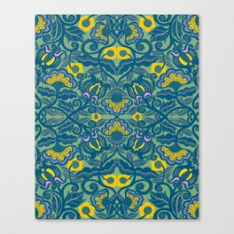 Blue Vines and Folk Art Flowers Pattern Canvas Print