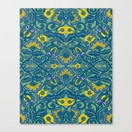 Blue Vines and Folk Art Flowers Pattern Canvas Print