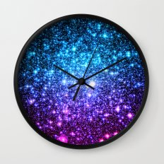 Glitter Galaxy Stars : Turquoise Blue Purple Hot Pink Ombre Wall Clock