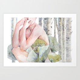 Savana in the birch forest Art Print